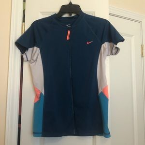 Nike multi colored zipped rash guard size L